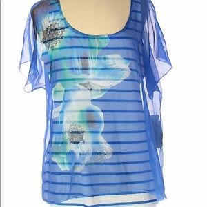 NWT One World Sheer Blue White Flower Top L